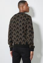 Superbalist - Geo pattern crew knit - black & taupe