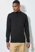 Superbalist - Slim fit high neck knit jersey - black