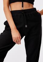 Factorie - Reverse french terry slim fit trackpants - black