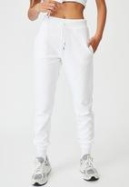 Factorie - Reverse french terry slim fit trackpants - white