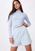 Factorie - Rib lettuce edge long sleeve - skyway blue