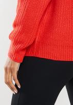 Missguided - Petite ophelita off shoulder jumper - red