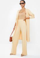 Missguided - Petite ribbed wide leg trouser - beige