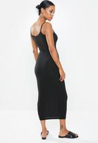 Missguided - Petite tie belt cami midi dress - black
