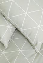 Sixth Floor - Ella printed polycotton duvet cover set - sage green