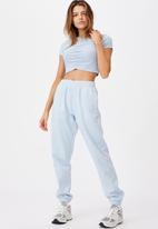 Factorie - Cinch front short sleeve top - skyway blue