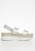 Seduction - Slingback flatform sandal - silver