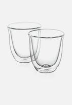 DeLonghi - Double Walled Cappuccino Glasses - Clear Set of 2