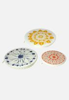 Halo Dish Covers - Dish and bowl cover large set of 3 - edible flowers - multi