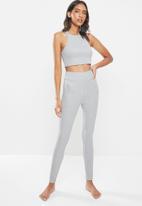 Missguided - Crop legging rib lounge set - grey