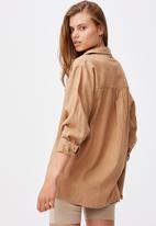 Cotton On - Boyfriend shirt - almond