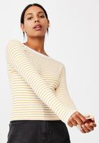 Cotton On - The turn back long sleeve top - miki stripe white/ dark cali yellow
