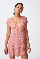 Cotton On - Woven essential tie back mini tea dress - sophie ditsy strawberry sorbet mini