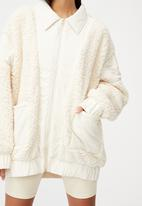 Factorie - Oversized teddy jacket - ecru