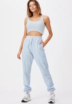 Factorie - Reverse french terry slim fit trackpant - skyway blue