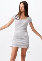 Factorie - Ruched side rib dress - grey marle