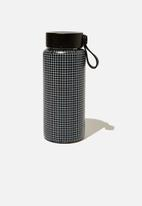 Typo - On the move metal drink bottle 350ml-black grid