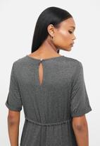 edit - Round neck waisted jumpsuit - grey