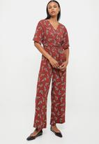 edit - Short sleeve woven wrap jumpsuit - multi