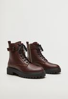 MANGO - Beatle leather ankle boot - dark red