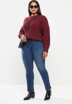 JUNAROSE - Curve long sleeve balloon o-neck blouse - burgundy