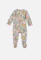 Cotton On - The long sleeve zip romper - silver sage/matilda floral