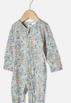 Cotton On - The long sleeve zip romper - dark vanilla/dusk blue annie floral
