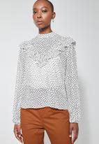 Superbalist - Femme ruffle blouse - white & black
