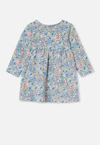 Cotton On - Molly long sleeve dress - dark vanilla/dusk blue annie floral