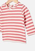 Cotton On - Lenny long sleeve top - hannah stripe mauve plum/vanilla
