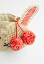 Cotton On - Raffia bunny jayme critter bag - neutral & orange