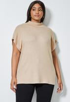 Superbalist - Soft touch sleeveless poloneck top - beige