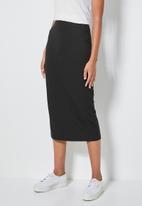 Superbalist - Rib bodycon skirt - black