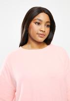 Cotton On - Curve super soft draw cord crew - pink