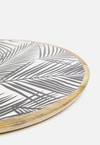 Excellent Housewares - Palm leaf serving plate - black & white