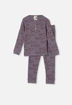 Cotton On - Ryan waffle long sleeve pyjama set - steel
