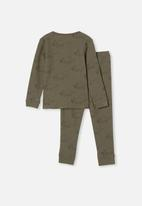 Cotton On - Ryan waffle long sleeve pyjama set - khaki green