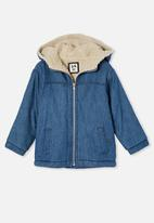 Cotton On - Cooper hooded sherpa jacket - mid wash