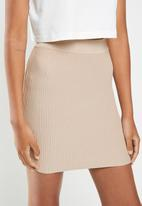 Cotton On - Blair knit mini skirt - beige