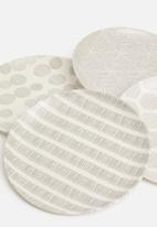 Excellent Housewares - Splice bamboo plate set of 4 - grey & white