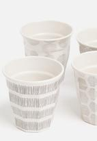 Excellent Housewares - Splice bamboo cup set of 4 - grey & white