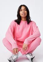 Cotton On - Lifestyle long sleeve crew top - aurora pink wash