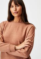 Cotton On - Lifestyle long sleeve crew top - cashew marle