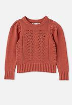 Cotton On - Darby puff sleeve knit jumper - rust