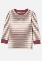 Cotton On - Tom long sleeve tee - neutral & burgundy
