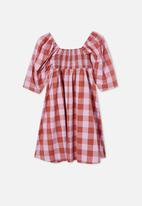 Free by Cotton On - Juniper short sleeve dress - chutney gingham