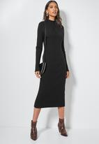 Superbalist - Organic cotton ribbed knitwear poloneck dress- black
