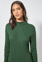 Superbalist - Organic cotton ribbed poloneck dress - green