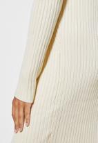 Superbalist - Organic cotton ribbed knitwear poloneck dress - cream