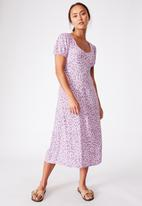 Cotton On - Woven amber open back midi dress - quinn ditsy white lilac